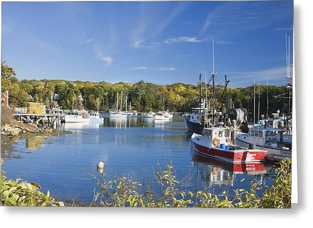 Maine Landscape Greeting Cards - South Bristol and Fishing Boats on the Coast of Maine Greeting Card by Keith Webber Jr