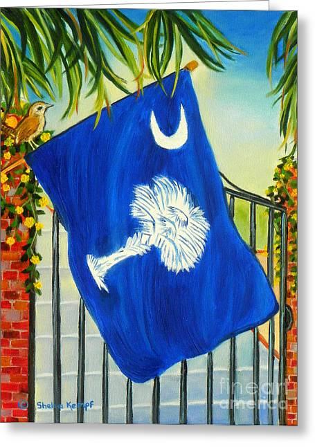 Jessamine Greeting Cards - South Carolina - A State of Art Greeting Card by Shelia Kempf
