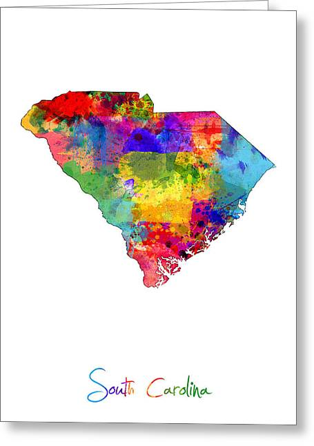 Cartography Digital Art Greeting Cards - South Carolina Map Greeting Card by Michael Tompsett
