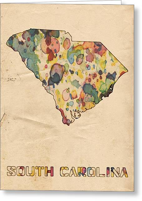 Vintage Map Digital Art Greeting Cards - South Carolina Map Vintage Watercolor Greeting Card by Florian Rodarte