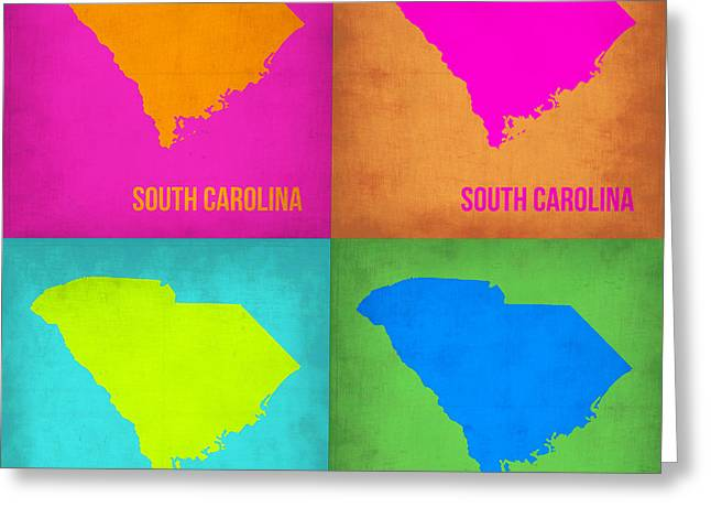 South Carolina Greeting Cards - South Carolina Pop Art Map 1 Greeting Card by Naxart Studio