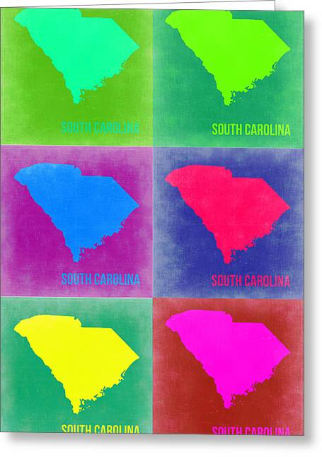 South Street Greeting Cards - South Carolina Pop Art Map 2 Greeting Card by Naxart Studio