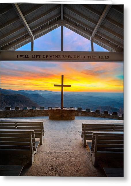 Blue Ridge Mountains Greeting Cards - South Carolina Pretty Place Chapel Sunrise Embraced Greeting Card by Dave Allen