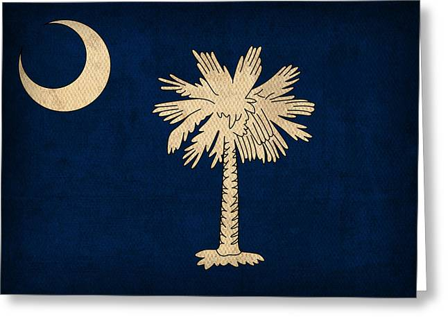 Myrtle Greeting Cards - South Carolina State Flag Art on Worn Canvas Greeting Card by Design Turnpike