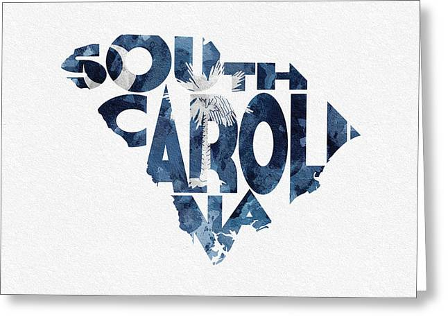 Homeland Greeting Cards - South Carolina Typographic Map Flag Greeting Card by Ayse Deniz