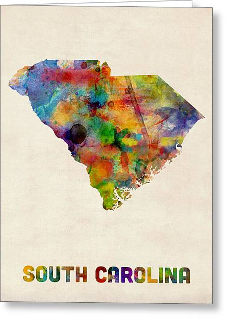Cartography Digital Greeting Cards - South Carolina Watercolor Map Greeting Card by Michael Tompsett