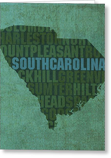 South Carolina Art Greeting Cards - South Carolina Word Art State Map on Canvas Greeting Card by Design Turnpike