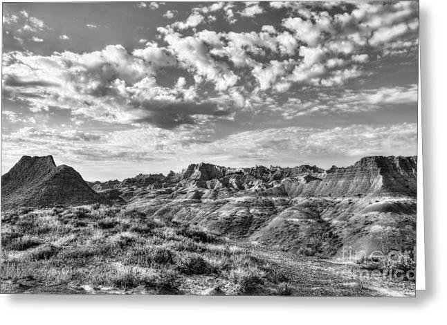 Pinnacle Peak Greeting Cards - South Dakota Badlands 2 BW Greeting Card by Mel Steinhauer