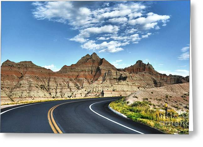 Yellow Line Greeting Cards - South Dakota Badlands Greeting Card by Mel Steinhauer