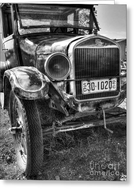 Rusted Cars Greeting Cards - South Dakota Classic BW Greeting Card by Mel Steinhauer