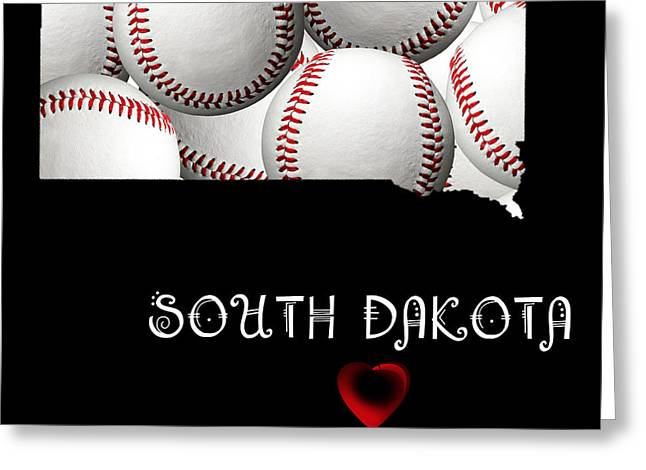 South Dakota Map Greeting Cards - South Dakota Loves Baseball Greeting Card by Andee Design