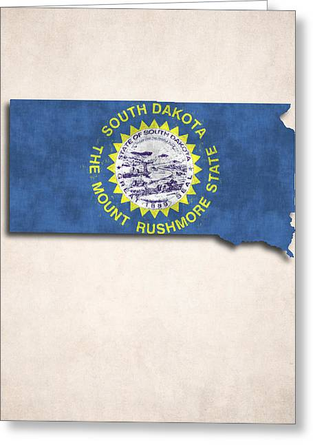 Flags Greeting Cards - South Dakota Map Art with Flag Design Greeting Card by World Art Prints And Designs