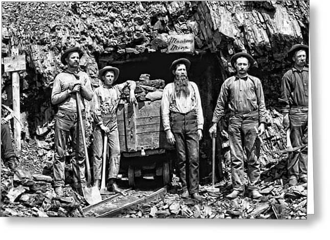 Silver Ore Greeting Cards - SOUTH DAKOTA MINERS c. 1889 Greeting Card by Daniel Hagerman