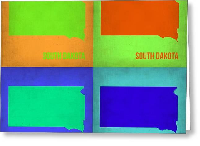Dakotas Greeting Cards - South Dakota Pop Art Map 1 Greeting Card by Naxart Studio