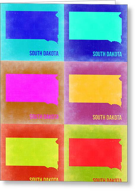 Dakota Greeting Cards - South Dakota Pop Art Map 2 Greeting Card by Naxart Studio