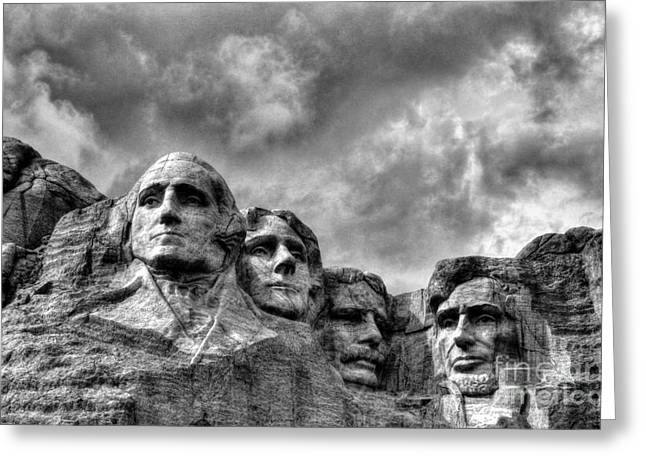 Abe Lincoln Art Greeting Cards - South Dakota Rocks 2 BW Greeting Card by Mel Steinhauer