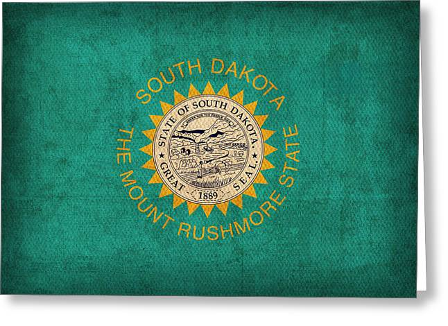 Lead Mixed Media Greeting Cards - South Dakota State Flag Art on Worn Canvas Greeting Card by Design Turnpike