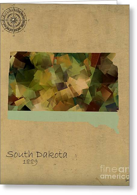 South Dakota Map Greeting Cards - South Dakota State Map Greeting Card by Bri Buckley