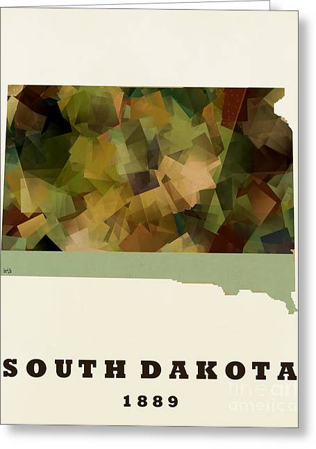 World Map Print Paintings Greeting Cards - South Dakota State Map Modern Greeting Card by Bri Buckley