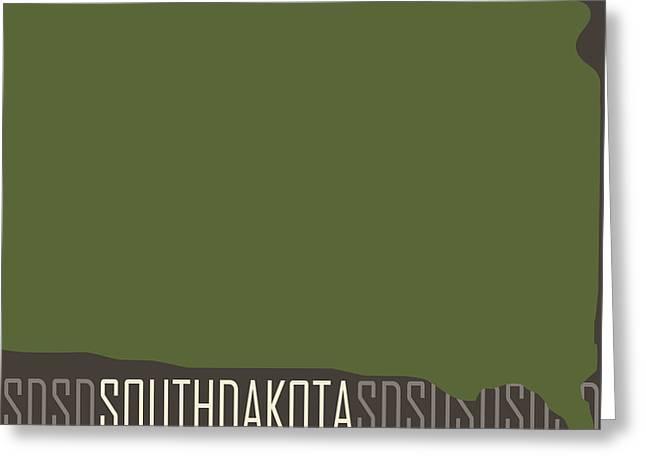 South Dakota Map Greeting Cards - South Dakota State Modern Greeting Card by Flo Karp