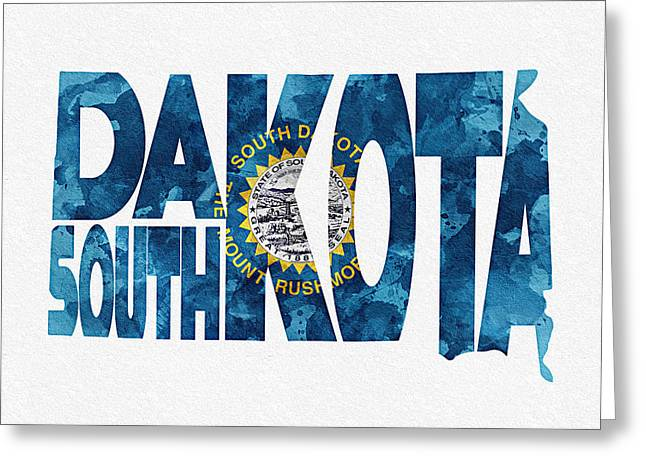 South Dakota Map Greeting Cards - South Dakota Typographic Map Flag Greeting Card by Ayse Deniz