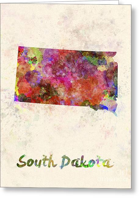 South Dakota Map Greeting Cards - South Dakota US state in watercolor Greeting Card by Pablo Romero