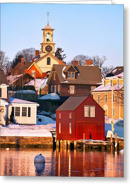 New England Snow Scene Greeting Cards - South End Boathouse Greeting Card by Eric Gendron