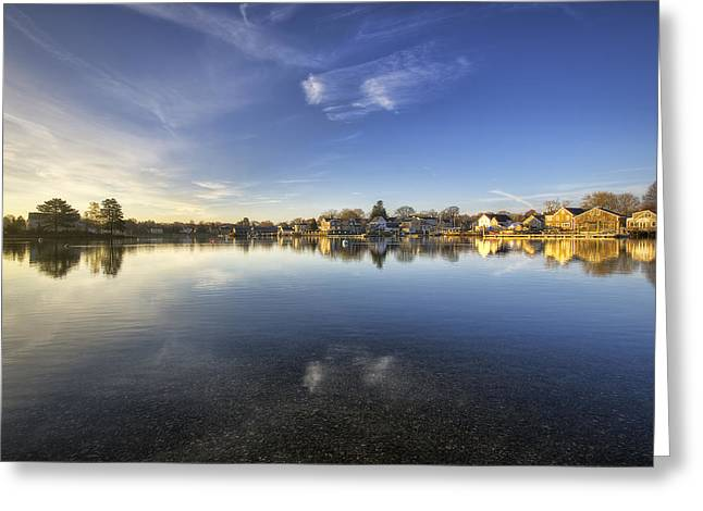 Reflecting Water Greeting Cards - South End Symmetry Greeting Card by Eric Gendron