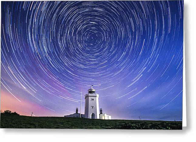 Stars Trail Greeting Cards - South Foreland lighthouse.  Greeting Card by Ian Hufton