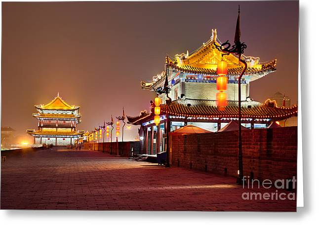 Shaanxi Province Greeting Cards - South gate of XiAn City Wall China Greeting Card by Fototrav Print