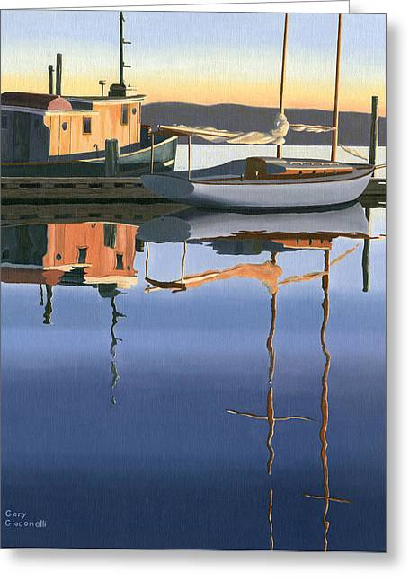 """sailing Ship"" Greeting Cards - South harbour reflections Greeting Card by Gary Giacomelli"