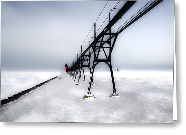 Drifting Snow Greeting Cards - South Haven Light  Winter Greeting Card by Sherry Piet