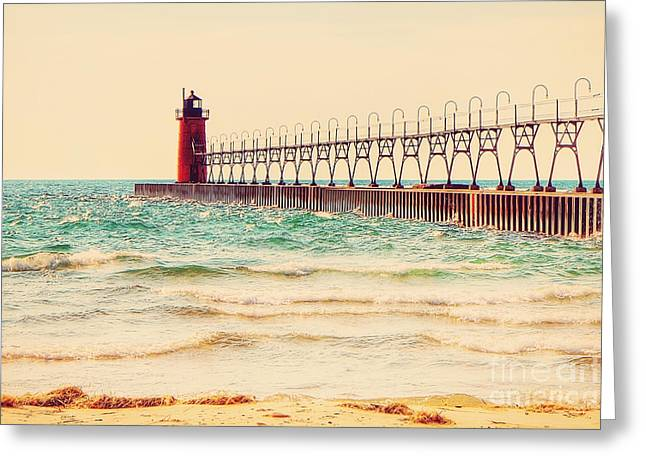 Lake House Greeting Cards - South Haven Lighthouse Greeting Card by Emily Kay