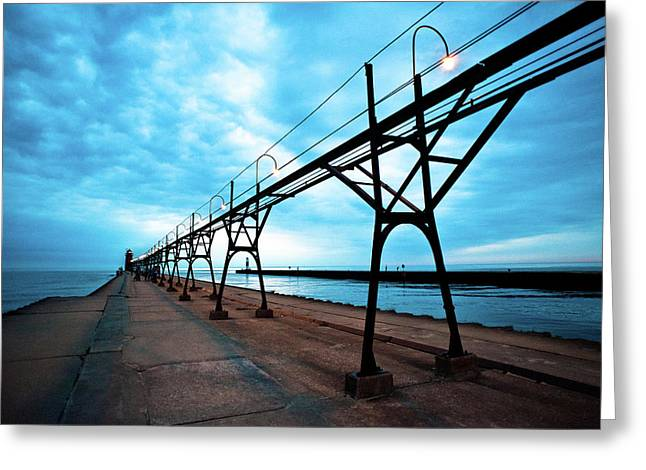 Cat Greeting Cards - South Haven Lighthouse Greeting Card by Sebastian Musial