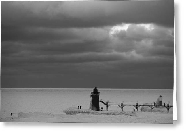 Snowstorm Greeting Cards - South Haven Michigan Deep Freeze Greeting Card by Dan Sproul