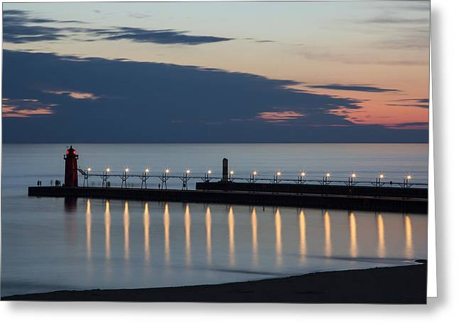 Ocean Shore Greeting Cards - South Haven Michigan Lighthouse Greeting Card by Adam Romanowicz