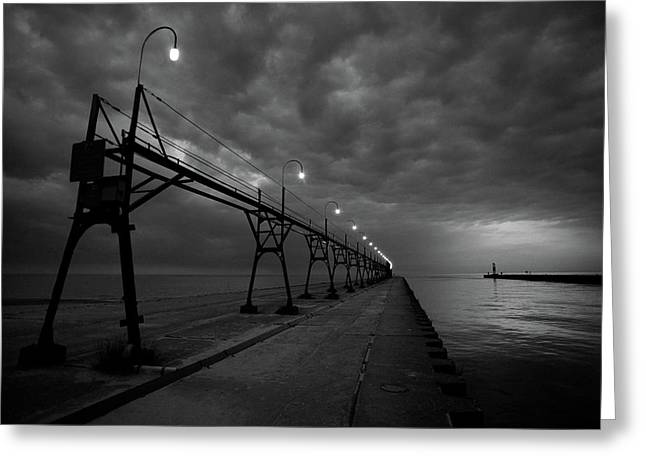 Pier Greeting Cards - South Haven Pier Greeting Card by Sebastian Musial