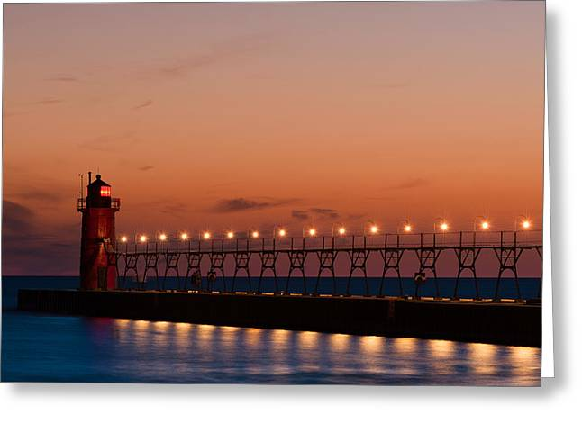 Sailor Greeting Cards - South Haven Reflection Greeting Card by Sebastian Musial