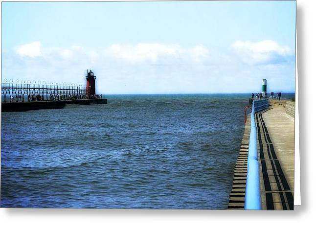 Michelle Greeting Cards - South Haven South Pierhead Light Greeting Card by Michelle Calkins