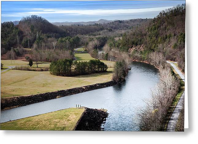Tennessee Landmark Greeting Cards - South Holston Dam View Greeting Card by Karen Wiles