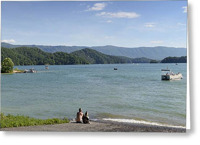 Man And Dog Greeting Cards - South Holston Lake - Panorama - Tennessee Greeting Card by Brendan Reals