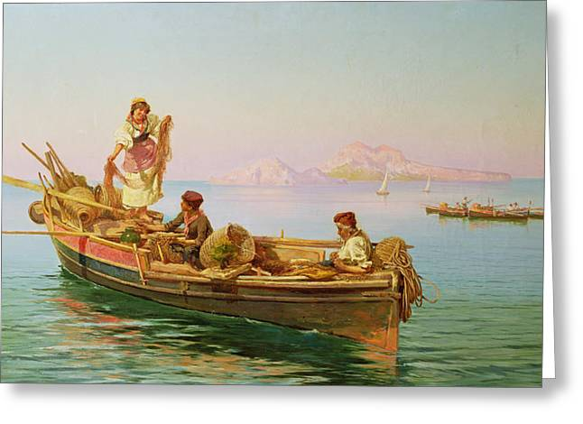 Net Greeting Cards - South Italian Fishing Scene Greeting Card by Pietro Barucci