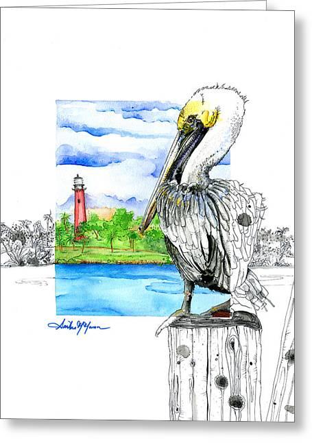 Moran Mixed Media Greeting Cards - South Jetty Greeting Card by Amber M  Moran