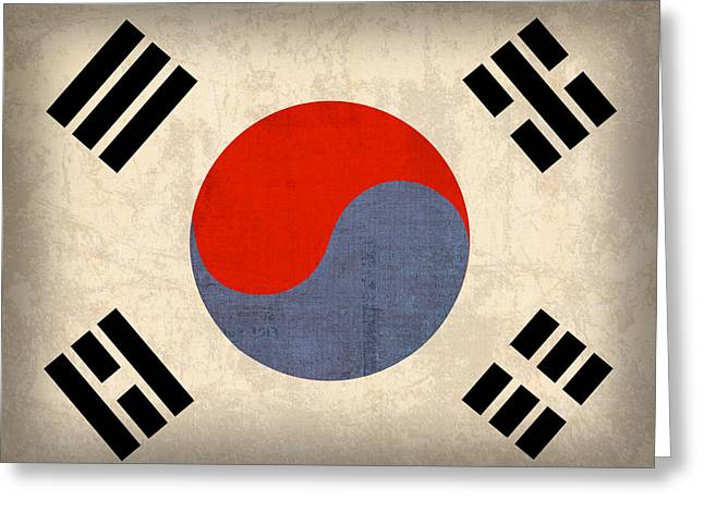 Flag Greeting Cards - South Korea Flag Vintage Distressed Finish Greeting Card by Design Turnpike