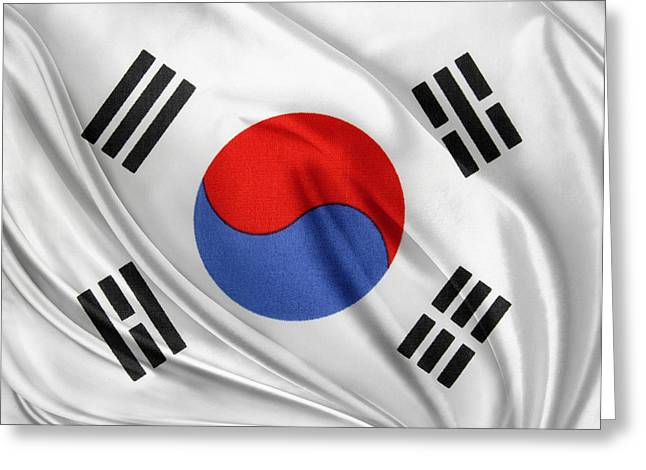 Shiny Fabric Greeting Cards - South Korean flag Greeting Card by Les Cunliffe