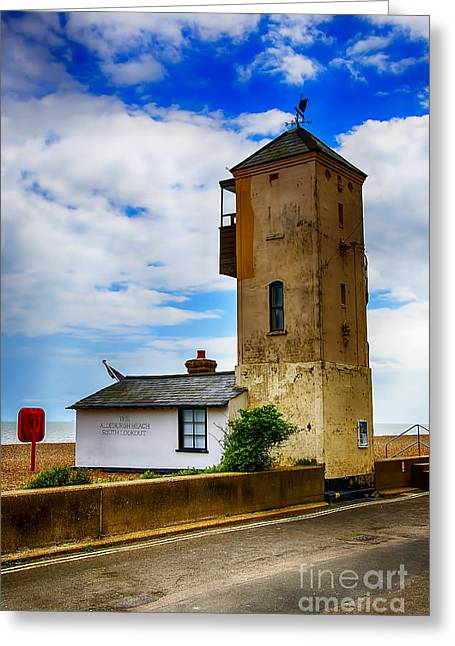 Aldeburgh Greeting Cards - South Lookout Tower Aldeburgh Beach Greeting Card by Chris Thaxter