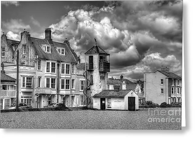 Aldeburgh Greeting Cards - South Lookout Tower Aldeburgh Black and White Greeting Card by Chris Thaxter