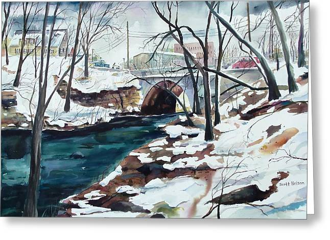 Cartoonist Greeting Cards - South Main Street Bridge Greeting Card by Scott Nelson