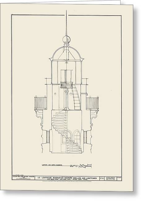 Uscg Drawings Greeting Cards - South Manitou Island Lighthouse Greeting Card by Jerry McElroy - Public Domain Image