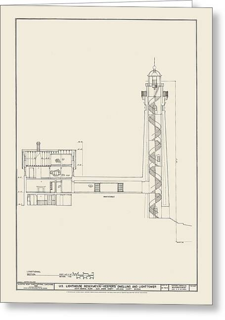 Uscg Drawings Greeting Cards - South Manitou Island Lighthouse Number 2 Greeting Card by Jerry McElroy - Public Domain Image
